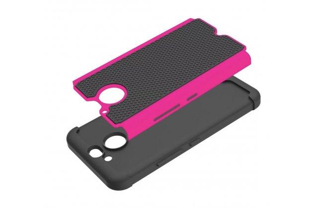 Противоударный усиленный ударопрочный фирменный чехол-бампер-пенал для HTC 10 evo черно-розовый