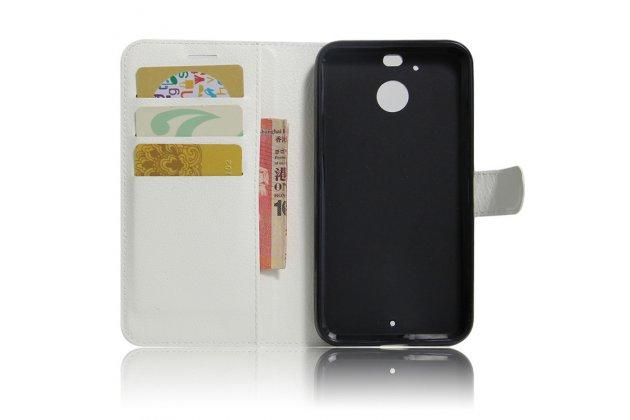 Фирменный чехол-книжка из качественной импортной кожи с подставкой застёжкой и визитницей для HTC 10 evo белый