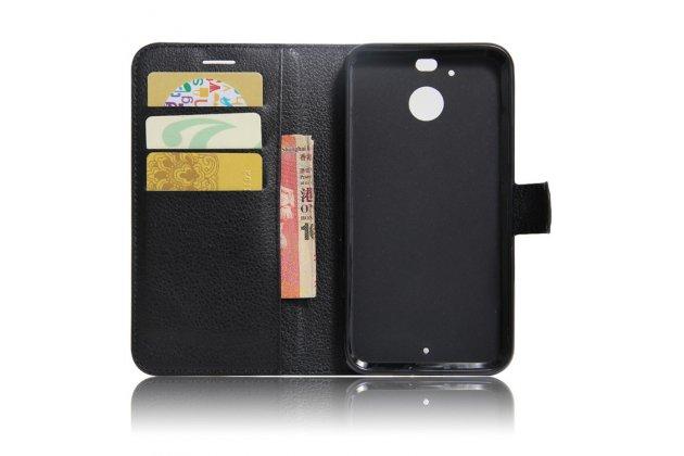 Фирменный чехол-книжка из качественной импортной кожи с подставкой застёжкой и визитницей для HTC 10 evo черный