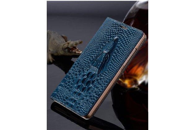Фирменный роскошный эксклюзивный чехол с объёмным 3D изображением кожи крокодила синий для HTC 10 evo . Только в нашем магазине. Количество ограничено