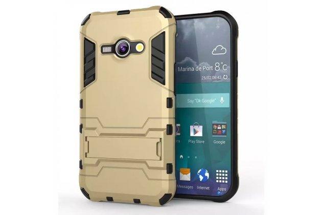 Противоударный усиленный ударопрочный фирменный чехол-бампер-пенал для HTC 10 evo золотой