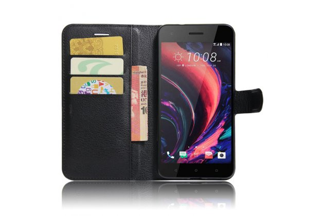 Фирменный чехол-книжка из качественной импортной кожи с подставкой застёжкой и визитницей для HTC Desire 10 Pro черный