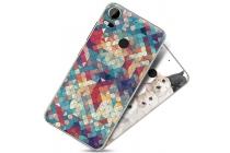 """Фирменная необычная из легчайшего и тончайшего пластика задняя панель-чехол-накладка для HTC Desire 10 Pro """"тематика Разноцветная Мозаика"""""""