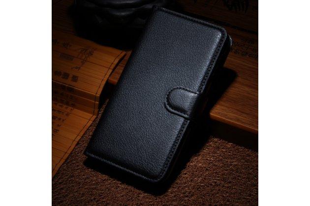 Фирменный чехол-книжка из качественной импортной кожи с подставкой застёжкой и визитницей для HTC Дезайр 510 черный