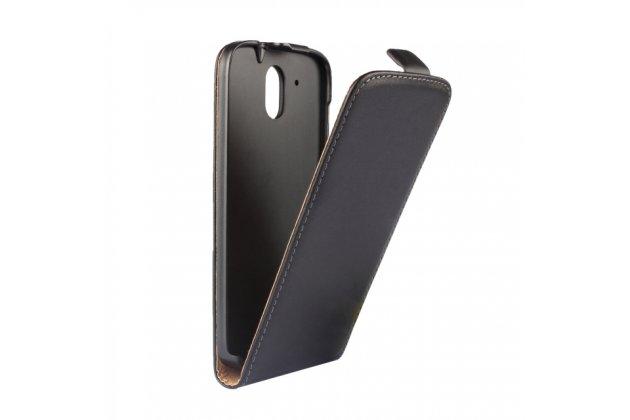 Фирменный оригинальный вертикальный откидной чехол-флип для HTC Desire 526/ 526 Dual Sim/ 526 G  черный из натуральной кожи Prestige