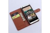 Фирменный чехол-книжка  из качественной импортной кожи с застёжкой и мультиподставкой для HTC Desire 650 коричневый