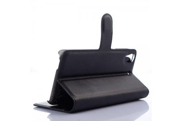 Фирменный чехол-книжка  из качественной импортной кожи с застёжкой и мультиподставкой для HTC Desire 650 черный