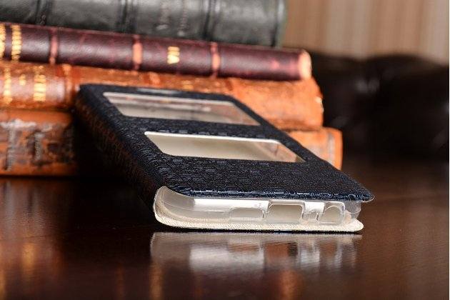 Фирменный чехол-книжка для HTC One A9s синий с окошком для входящих вызовов и свайпом водоотталкивающий