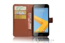 Фирменный чехол-книжка из качественной импортной кожи с подставкой застёжкой и визитницей для HTC One A9s коричневый