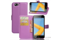 Фирменный чехол-книжка из качественной импортной кожи с подставкой застёжкой и визитницей для HTC One A9s фиолетового цвета.