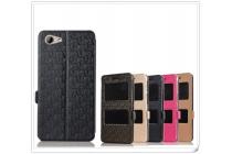 Фирменный чехол-книжка для HTC One A9s чёрный с окошком для входящих вызовов и свайпом водоотталкивающий