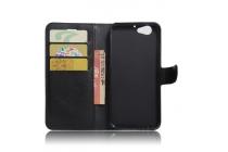 Фирменный чехол-книжка из качественной импортной кожи с подставкой застёжкой и визитницей для HTC One A9s чёрного цвета.