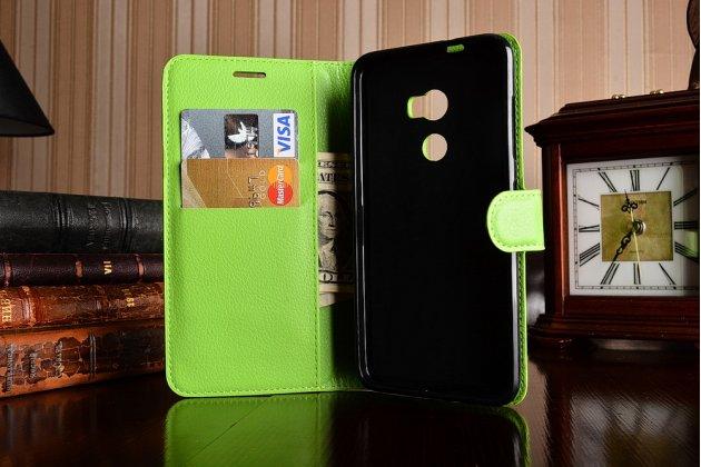 Фирменный чехол-книжка из качественной импортной кожи с подставкой застёжкой и визитницей для HTC One X10 зеленый