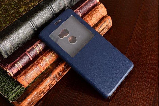 Фирменный оригинальный чехол-книжка для HTC One X10 серый с окошком для входящих вызовов водоотталкивающий
