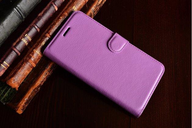 Фирменный чехол-книжка из качественной импортной кожи с подставкой застёжкой и визитницей для HTC One X10 фиолетовый