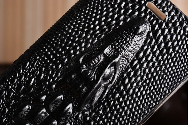 Фирменный роскошный эксклюзивный чехол с объёмным 3D изображением кожи крокодила черный для HTC One X10 . Только в нашем магазине. Количество ограничено