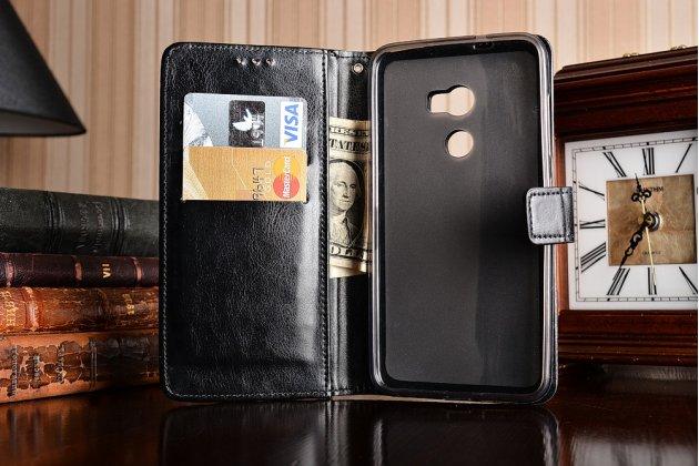 Фирменный чехол-книжка из качественной импортной кожи с подставкой застёжкой и визитницей для HTC One X10 черный