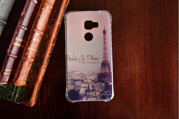 Фирменная необычная из мягкого и тонкого силикона задняя панель-чехол-накладка для HTC One X10 тематика Париж