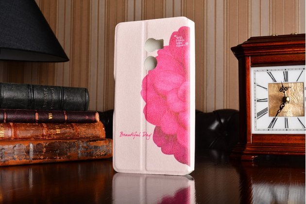 Фирменный уникальный необычный чехол-подставка для HTC One X10  тематика Яркий Цветок