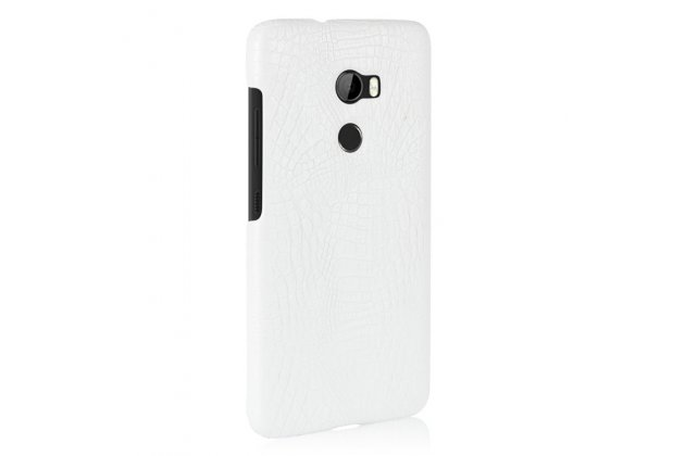 Фирменная роскошная элитная премиальная задняя панель-крышка на пластиковой основе обтянутая лаковой кожей крокодила  для HTC One X10 белый