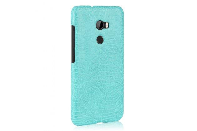 Фирменная роскошная элитная премиальная задняя панель-крышка на пластиковой основе обтянутая лаковой кожей крокодила  для HTC One X10 бирюзовый
