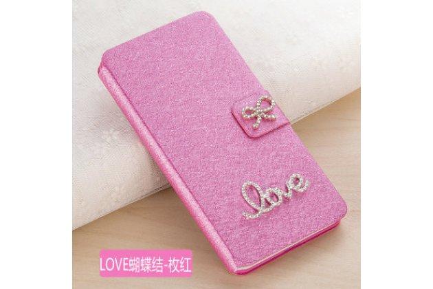 Фирменный роскошный чехол-книжка безумно красивый декорированный бусинками и кристаликами на HTC One X10 розовый