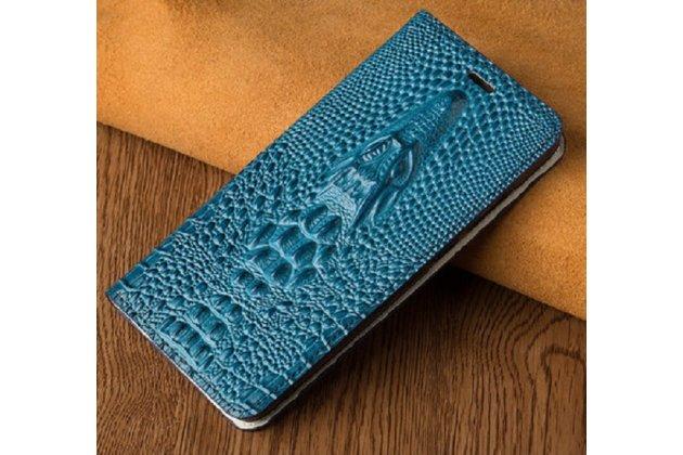 Фирменный роскошный эксклюзивный чехол с объёмным 3D изображением кожи крокодила синий для HTC One X10 . Только в нашем магазине. Количество ограничено