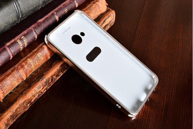 Фирменная металлическая задняя панель-крышка-накладка из тончайшего облегченного авиационного алюминия для HTC U Play серебристая