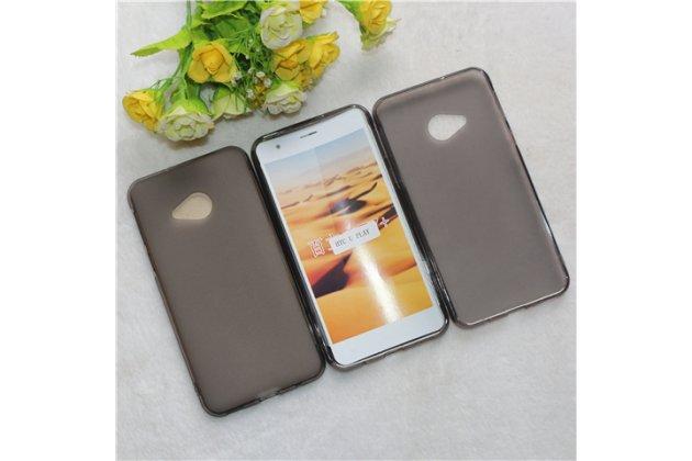 Фирменная ультра-тонкая полимерная из мягкого качественного силикона задняя панель-чехол-накладка для HTC U Play прозрачно серого цвета.