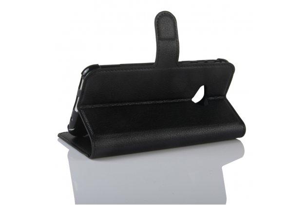 Фирменный чехол-книжка из качественной импортной кожи с подставкой застёжкой и визитницей для HTC U Play чёрного цвета