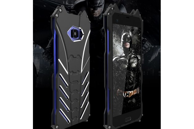 Противоударный металлический чехол-бампер из цельного куска металла с усиленной защитой углов и необычным экстремальным дизайном для HTC U Ultra черного цвета