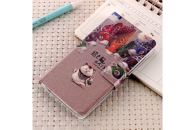 """Фирменный чехол-книжка из кожи с подставкой застёжкой и визитницей для HTC U Ultra с изображением """"Кот"""""""