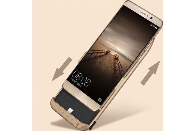 Чехол-бампер со встроенной усиленной мощной батарей-аккумулятором большой повышенной расширенной ёмкости 10000 mAh для HTC U Ultra золотой + гарантия