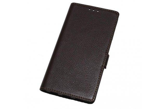 Фирменный чехол-книжка из качественной импортной кожи с застёжкой и мультиподставкой для HTC U Ultra коричневый
