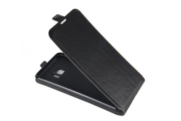 Фирменный оригинальный вертикальный откидной чехол-флип для HTC U Ultra черный из натуральной кожи Prestige Италия