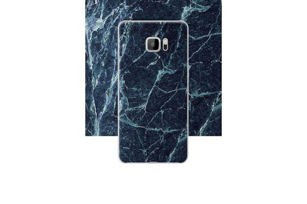 Фирменная из тончайшего прочного пластика задняя панель-крышка-накладка с рисунком под мрамор для HTC U Ultra цвет малахит
