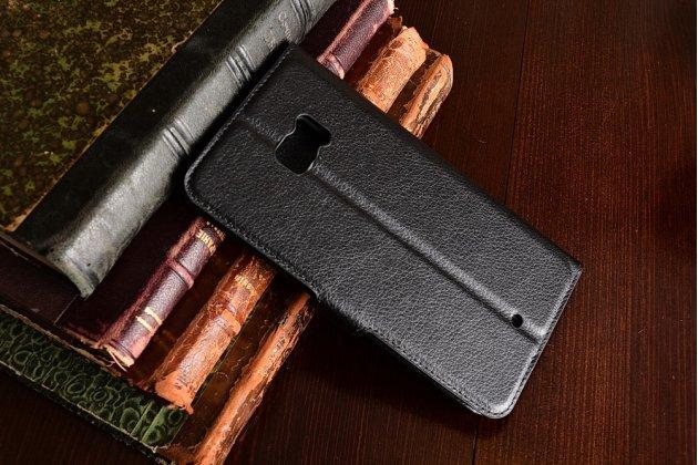 Фирменный чехол-книжка из качественной импортной кожи с подставкой застёжкой и визитницей для HTC U Ultra чёрного цвета