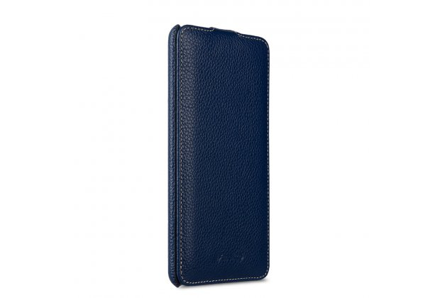 Фирменный оригинальный вертикальный откидной чехол-флип для HTC U Ultra синий из натуральной кожи Prestige