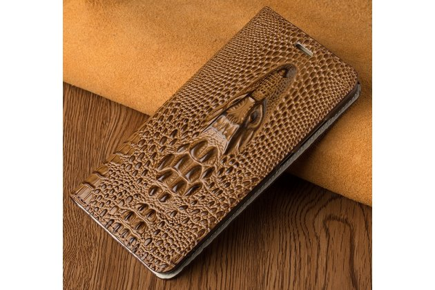 Фирменный роскошный эксклюзивный чехол с объёмным 3D изображением рельефа кожи крокодила коричневый для HTC U Ultra. Только в нашем магазине. Количество ограничено