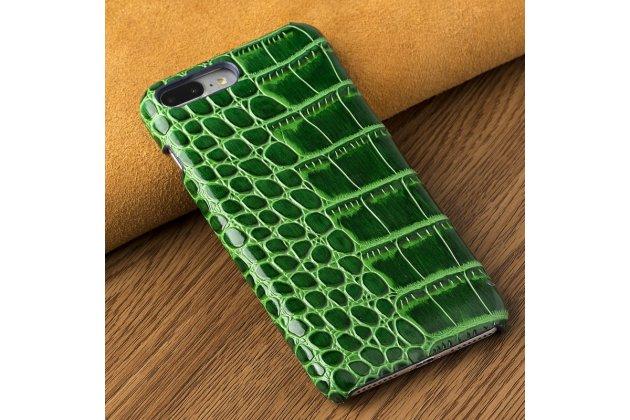 Фирменная элегантная экзотическая задняя панель-крышка с фактурной отделкой натуральной кожи крокодила зелёного цвета для HTC U Ultra . Только в нашем магазине. Количество ограничено.