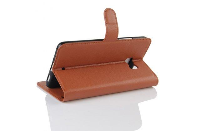 Фирменный чехол-книжка из качественной импортной кожи с подставкой застёжкой и визитницей для HTC U Ultra коричневого цвета