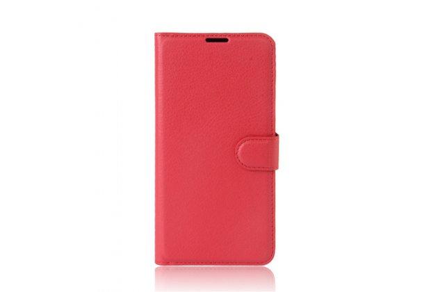 Фирменный чехол-книжка из качественной импортной кожи с подставкой застёжкой и визитницей для HTC U Ultra красного цвета.