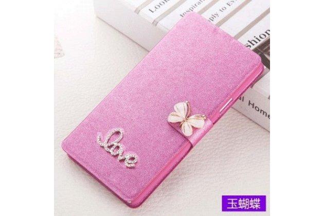 Фирменный роскошный чехол-книжка безумно красивый декорированный бусинками и кристаликами на HTC U Ultra розовый