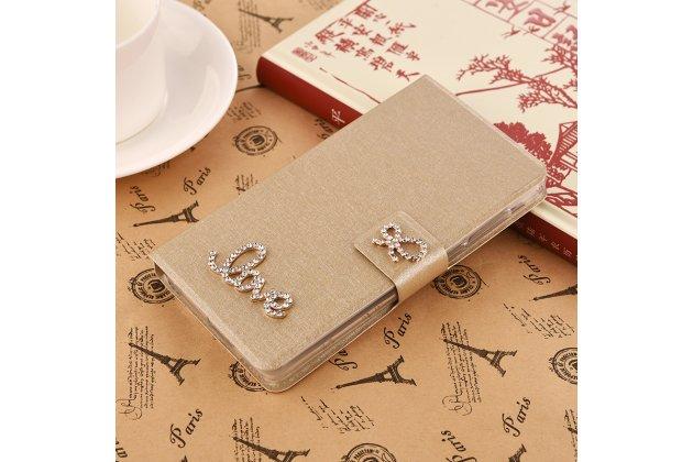 Фирменный роскошный чехол-книжка безумно красивый декорированный бусинками и кристаликами на HTC U Ultra золотой