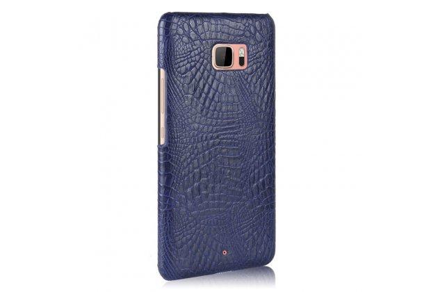 Фирменная роскошная премиальная задняя панель-крышка на пластиковой основе обтянутая фактурной кожей крокодила для HTC U Ultra синяя