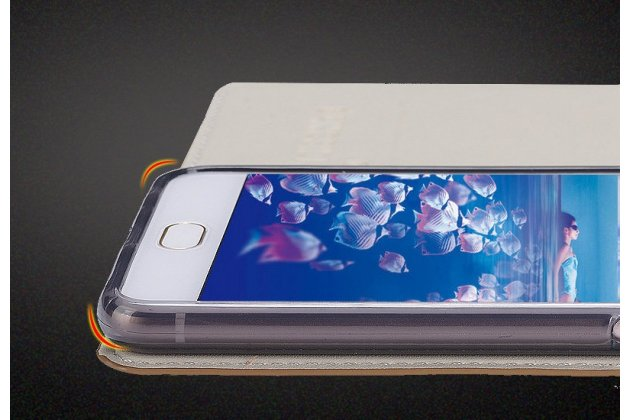 Фирменный премиальный элитный чехол-книжка из качественной импортной кожи с мульти-подставкой и визитницей для HTC U11 Life  коричневый