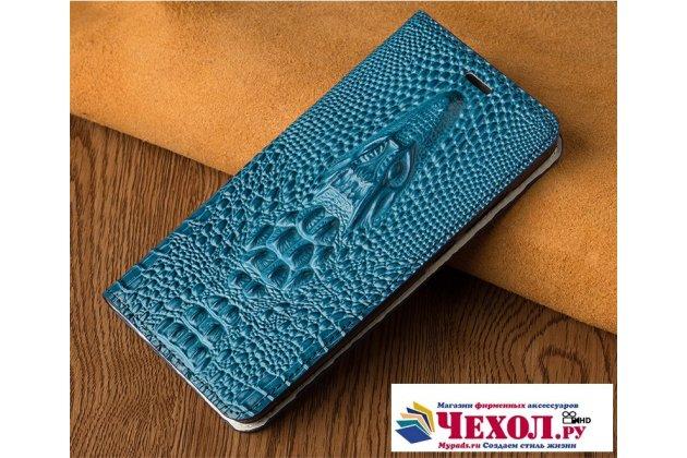Фирменный роскошный эксклюзивный чехол с объёмным 3D изображением кожи крокодила синий для HTC U11 Life  Только в нашем магазине. Количество ограничено