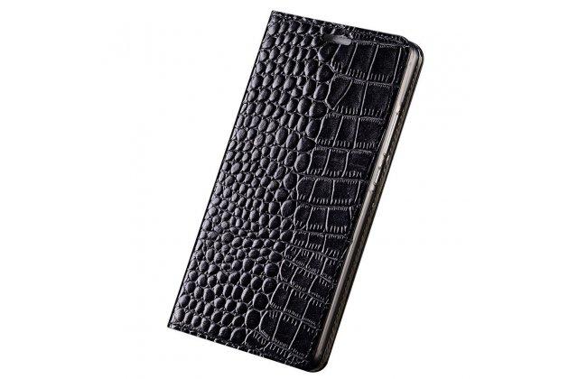 Фирменный роскошный эксклюзивный чехол с фактурной прошивкой рельефа кожи крокодила и визитницей черный для HTC U11 Life. Только в нашем магазине. Количество ограничено