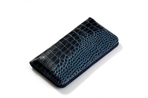 Фирменный чехол-портмоне-клатч-кошелек на силиконовой основе из качественной импортной кожи для HTC U11 Life синий