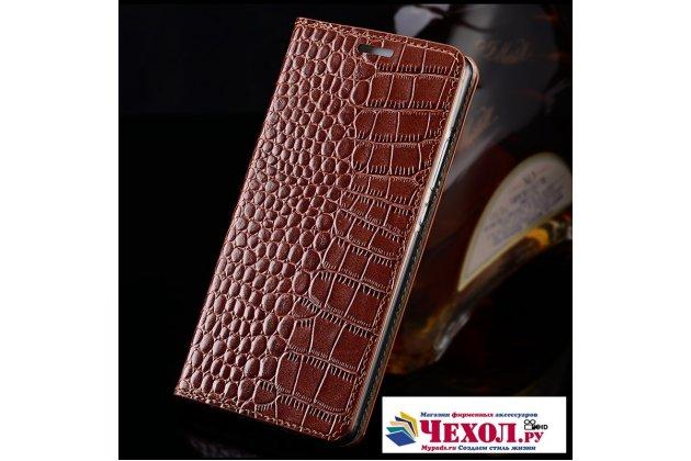 Фирменный роскошный эксклюзивный чехол с фактурной прошивкой рельефа кожи крокодила и визитницей коричневый для HTC U11 Life. Только в нашем магазине. Количество ограничено